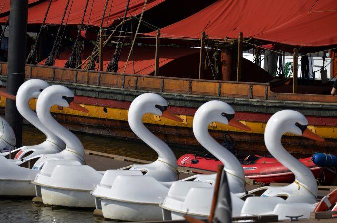 The oar-powered Draken Harald Harfagre viking ship is moored at Penn's Lansing, on Monday. (Bastiaan Slabbers for WHYY)