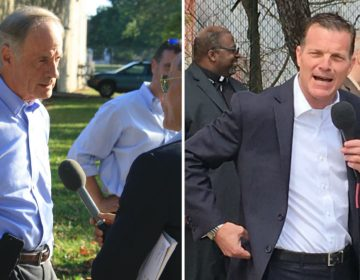 At left, U.S. Sen. Tom Carper, a three-term Democratic incumbent, will face Republican challenger Rob Arlett in the Nov. 6 general election. Both easily won their primary races Thursday. (Mark Eichmann/WHYY)