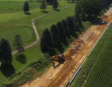 An aerial view of Mariner East 2 pipeline construction, adjacent to the Fairview Golf Course in Lebanon County August 24, 2018. (Marie Cusick/StateImpact Pennsylvania)