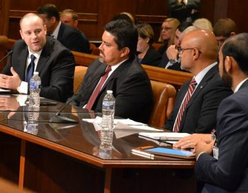 Guthrie Medical Group executive David Hall speaks before the House Professional Licensure Committee, advocating for proposed Senate Bill 780, which would regulate telemedicine and require insurers to cover it. (Brett Sholtis/Transforming Health)