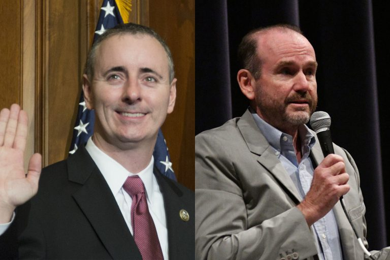 Left: Rep. Brian Fitzpatrick (AP Photo/Zach Gibson) Right: Scott Wallace (Bastiaan Slabbers for WHYY)