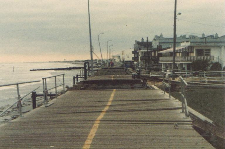 Damage to the boardwalk in Ocean City, New Jersey from Hurricane Gloria. (Image: Donna Hink/Public Domain)