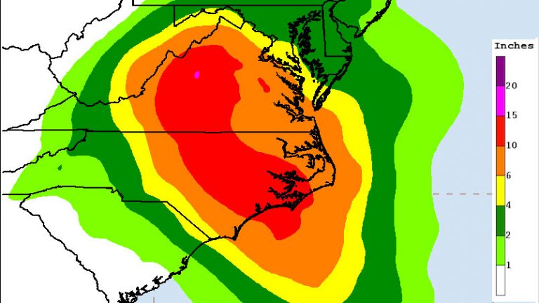 Seven day rainfall forecast for Hurricane Florence. Issued 4:54 p.m. Sept 10, 2018. (NOAA)