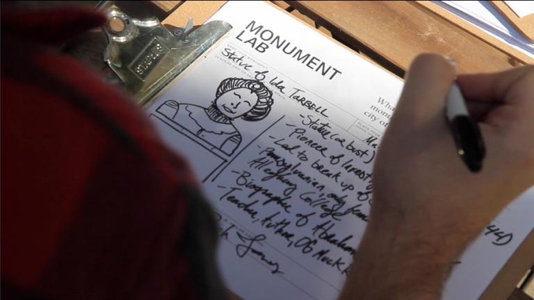 What is an appropriate monument for the current city of Philadelphia? The Monument Lab project has released its report after years of public engagement and experimentation. (Kimberly Paynter/WHYY)