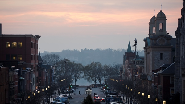 Shown is the view from the Pennsylvania Capitol building Tuesday, Dec. 8, 2015, at the state Capitol in Harrisburg, Pa. (Matt Rourke/AP)