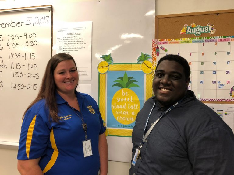 McKean High School teachers Rebecca Sheehan and Jaimin Carter both hope to take advantage of a new Delaware law that could pay up to $10,000  of their student loans over five years. (Cris Barrish/WHYY News)