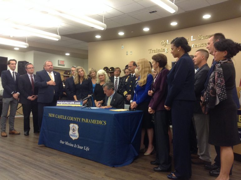 Gov. John Carney signed three bills aimed at addressing Delaware's opioid crisis. (Zoe Read/WHYY)