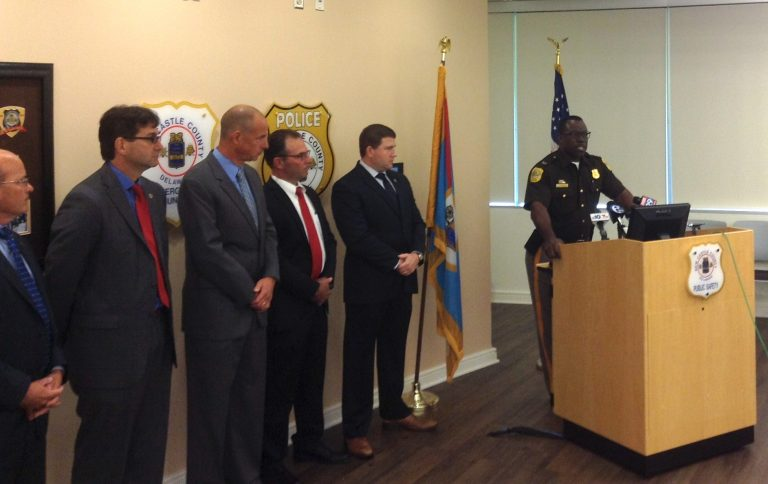 New Castle County police chief Col. Vaughn Bond announces that Kwesi Hudson, 47, has been charged in a series of sexual assaults and robberies involving female victims. (Zoë Read/WHYY)