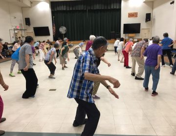 Members at the Selfhelp Benjamin Rosenthal Senior Center in Queens, New York, perform tai chi on a Friday morning (Jad Sleiman)