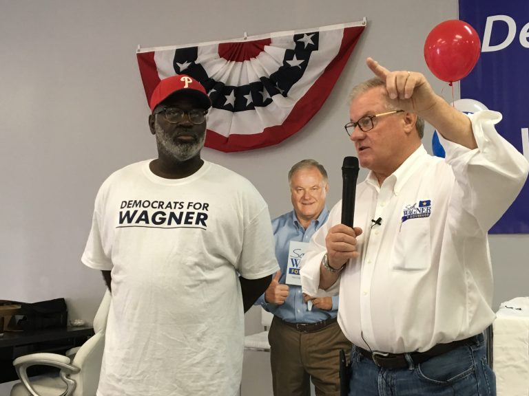 Republican gubernatorial candidate Scott Wagner (right) opens new Philadelphia office with supporter Tracey L. Fisher (Dave Davies/WHYY)