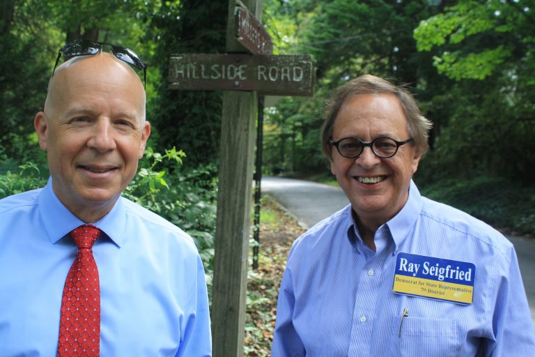 Republican Eric Braunstein and Ray Seigfried live a few doors from each other in Arden, but are opponents in the race for the 7th District seat in the Delaware House of Representatives. (Cris Barrish/WHYY)