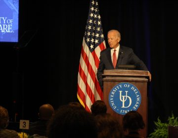 Former V.P. Joe Biden speaks at a Biden Institute conference on revitalizing the middle class at the University of Delaware. (Mark Eichmann/WHYY)