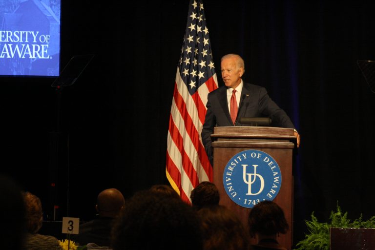Former Vice President Joe Biden speaks at a Biden Institute conference on revitalizing the middle class at the University of Delaware. On Tuesday, the university announced it has named its public policy department in his honor. (Mark Eichmann/WHYY)