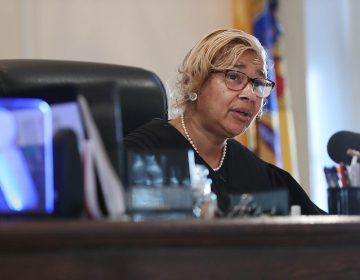 Judge Paula T. Dow addresses the lawyers during a hearing on missing funds in the Johnny Bobbitt case in the Olde Historic Courthouse in Mt. Holly, NJ on September 5, 2018.  McClure and D'Amico are accused of mismanaging the money raised for Bobbitt. (David Maialetti/The Philadelphia Inquirer via AP, Pool)