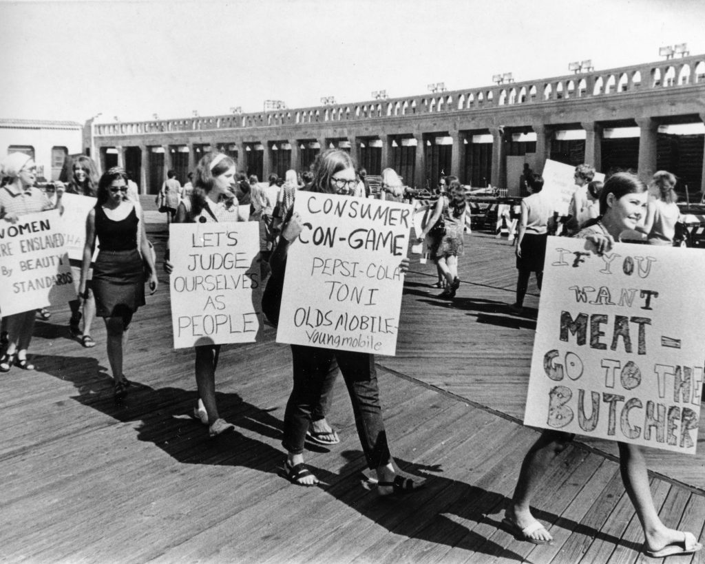 Demonstrators from the National Women's Liberation Party picket with signs in protest of the annual Miss America Pageant in front of the Convention Hall in Atlantic City, N.J., on Sept. 7, 1968.