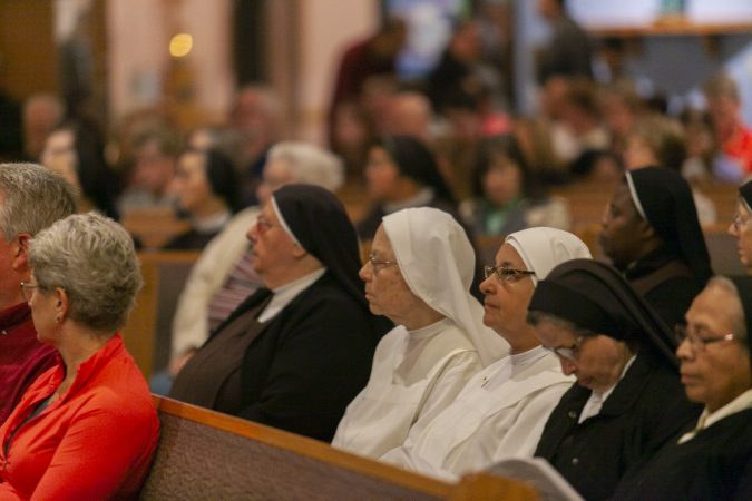Parishioners attend an evening of prayer for the victims of abuse on September 28, 2018 in Blackwood, New Jersey. (Miguel Martinez  for WHYY)