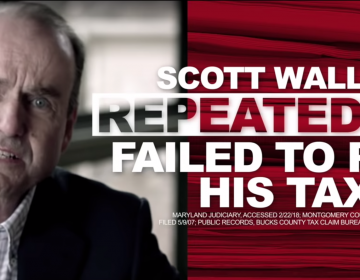 A still from a recent campaign ad attacking Pa. Dem. congressional candidate Scott Wallace (YouTube)