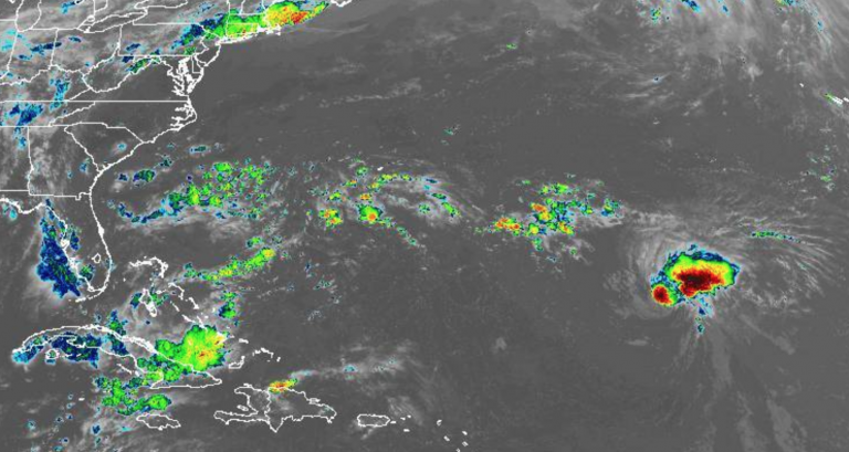 In this Thursday evening NOAA infrared satellite image, Hurricane Florence is in the lower right portion of the frame.