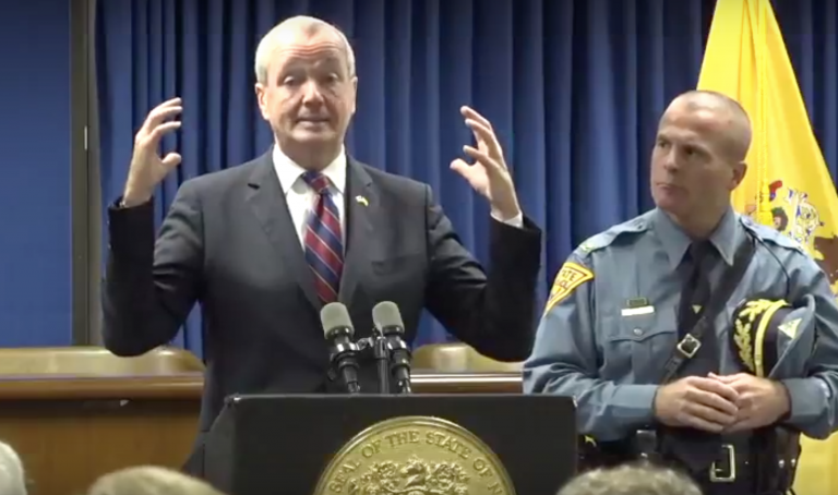 New Jersey Governor Phil Murphy, flanked by New Jersey State Police Superintendent Col. Patrick J. Callahan, speaks about storm preparations at a Tuesday afternoon press conference in Newark. (Screencap/Governor's Office)