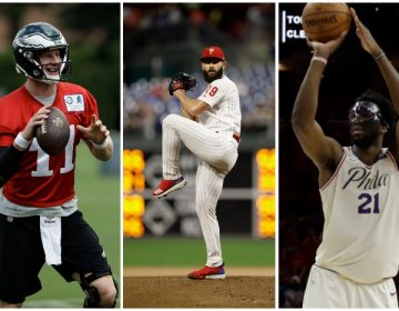 from left to right: Carson Wentz, Jake Arrieta, Joel Embiid (AP)