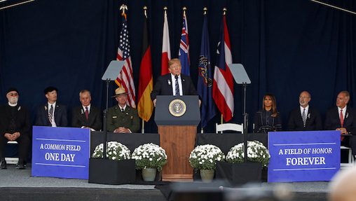 President Donald Trump speaks during the 9/11 Flight 93 memorial service in Shanksville, Pa., Tuesday. (AP Photo/Gene J. Puskar)