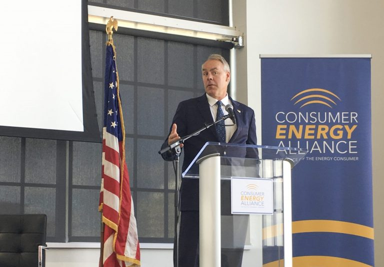 Interior Secretary Ryan Zinke speaks Friday at a conference hosted by the Consumer Energy Alliance in Pittsburgh. (Amy Sisk/StateImpact Pennsylvania)