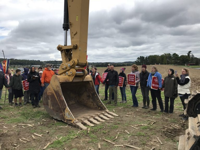 Protesters blocked pipeline construction equipment on the property of The Adorers of the Blood of Christ, an order of Catholic nuns, in Lancaster County last year. (Marie Cusick/StateImpact Pennsylvania)