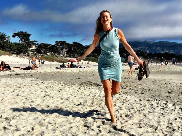 Barbara Paulsen, 59, runs on a beach in Carmel, California. She plans to do everything she can to stay active as she ages. (Teo Furtado)