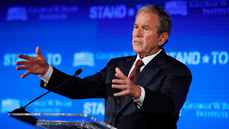 In this June 23, 2017 file photo, former President George W. Bush speaks during