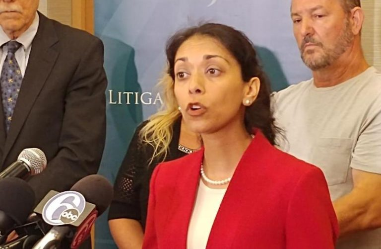 Attorney Darpana Sheth with the Institute for Justice speaks to reporters on Tuesday, Sept. 18. (Tom MacDonald/WHYY)