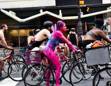 Philadelphia Naked Bike Ride 2018. (Kimberly Paynter/WHYY)