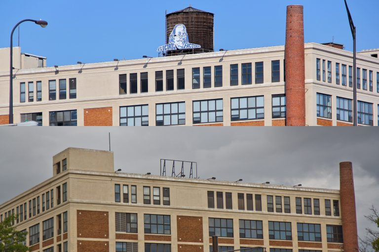 The Electric Factory sign in 2013, (top) and Wednesday, signless (bottom). (Emma Lee, Kimberly Paynter/WHYY)