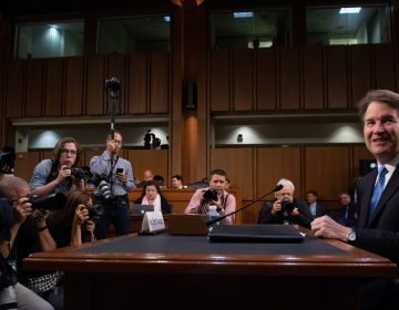Judge Brett Kavanaugh arrives to testify during the second day of his Supreme Court confirmation hearings on Wednesday. (Saul Loeb/AFP/Getty Images)
