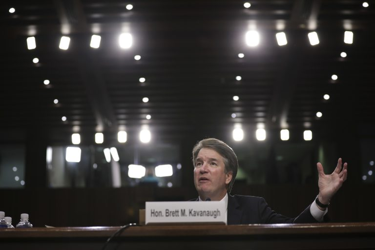 Supreme Court nominee Brett Kavanaugh testifies before the Senate Judiciary Committee last month. (Drew Angerer/Getty Images)