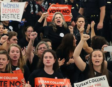 Protesters gather on Capitol Hill at the office of GOP Sen. Susan Collins of Maine to protest the nomination of Supreme Court nominee Judge Brett Kavanaugh.
