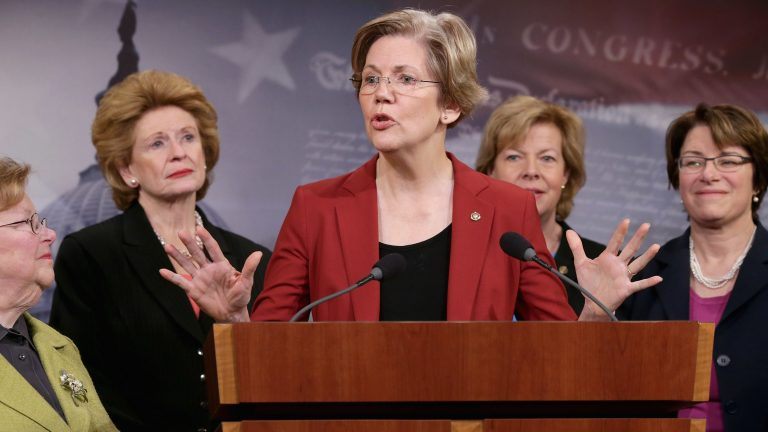 Former U.S. Sen. Barabara Mikulski (D-MD), U.S. Sen. Debbie Stabenow (D-MI), U.S. Sen. Elizabeth Warren (D-MA), U.S. Sen. Tammy Baldwin (D-WI) and U.S. Sen. Amy Klobuchar (D-MN) join other women Democratic senators for a news conference at the U.S. Capitol January 30, 2014. (Chip Somodevilla/Getty Images)