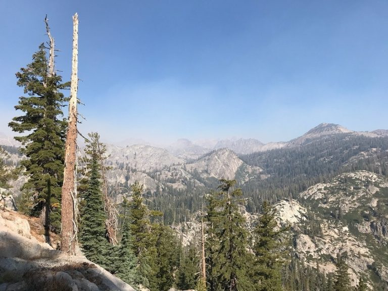 Smoke from the Lions Fire obscures granite peaks in the Sierra Nevada. (Nathan Rott/NPR)