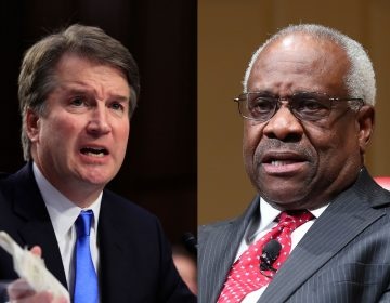 Left: Supreme Court nominee Brett Kavanaugh (AP Photo/Manuel Balce Ceneta)