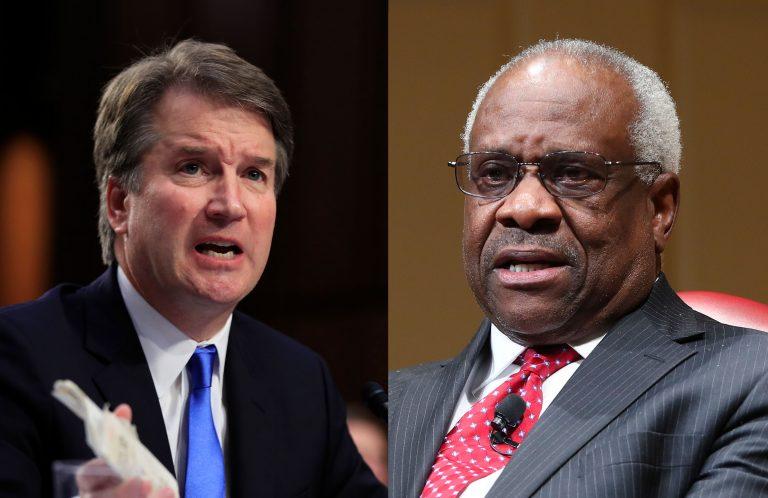 Left: Supreme Court nominee Brett Kavanaugh (AP Photo/Manuel Balce Ceneta)