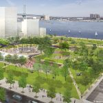 Plans for a new waterfront park over I-95 at Penn's Landing (Courtesy of  Hargreaves Associates & redsquare)