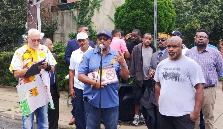 African-American leaders are calling for an end to violence in the city. Mel Wells, who runs the same group One Day at a Time, said generations of men are being killed. (Tom MacDonald/WHYY)