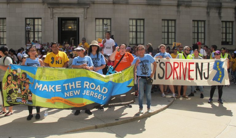 Hundreds of residents rally outside the New Jersey Statehouse in support of the legislation (Phil Gregory/WHYY)