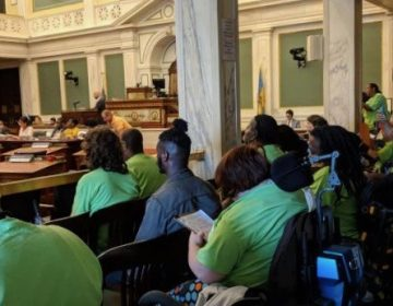 Representatives of the Philadelphia Coalition for Affordable Communities packed a Sept. 26 City Council hearing (Shaylin Sluzalis via Twitter)
