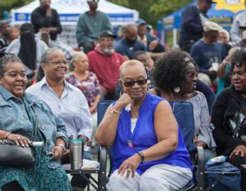 Residents gather to join in the festivities at the 12th Annual Strawberry Mansion Day. (Emily Cohen for WHYY)