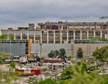 A 26-acre slice of the hulking Budd Co. auto assembly plant is going to auction. (Kimberly Paynter/WHYY)