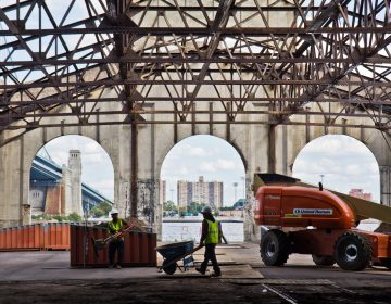 Construction is underway at the Cherry Street Pier. (Kimberly Paynter/WHYY)