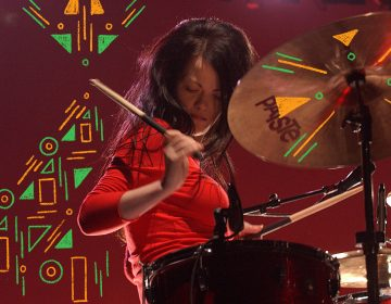 Meg White performs in Australia in 2003. (Photo Illustration: Bob King/Redferns and Angela Hsieh/NPR)