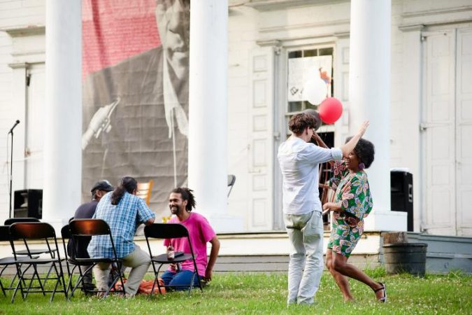 Revelers celebrate with music and BBQ at Hatfield House. The June 29 event was hosted by Amber Art and Design, Strawberry Mansion Civic Association and the Fairmount Park Conservancy