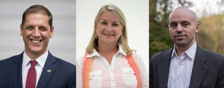 Running for congress in Pennsylvania's 7th district: Republican Marty Nothstein, Democrat Susan Wild and Libertarian Tim Silfies. (AP Images and Lindsay Lazarski/WHYY)