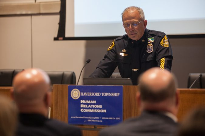 Chief John Viola, the Chief of the Haverford Township Police Department, addresses residents gathered together at the new Haverford Township Building. They met for a town hall to address racism and racial bias in the Haverford Township school district. (Emily Cohen for WHYY)
